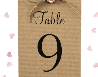 Rustic Rose and Twine Wedding Table Number Card