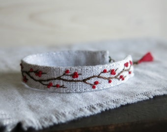 Winter Berries Bracelet - Rustic Tree Branch with Red Berries - Hand Embroidered Cuff Bracelet