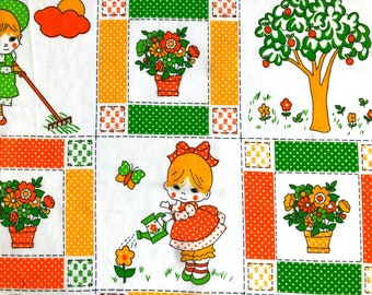 Vintage Fabric 70's Children's Cotton, White, Polka Dot, Floral, Printed, Material, Textiles