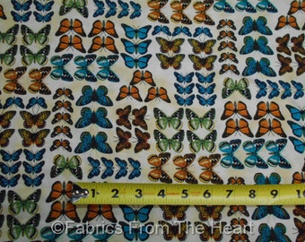 Monarch Butterflys Summer Garden on Tan BY YARDS Timeless Treasure Cotton Fabric