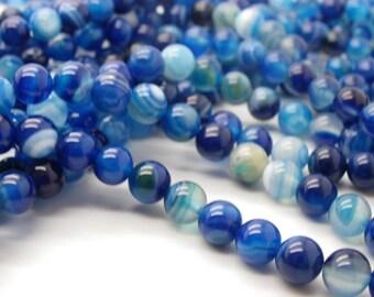 25 agate 6 mm agate has blue stripes hard, white, sky blue