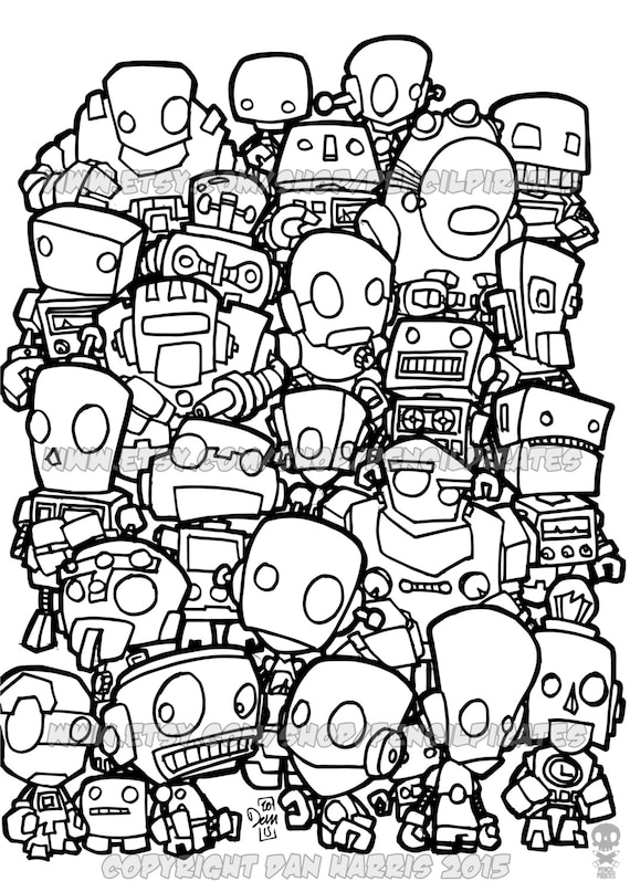 Robot Colouring Page Adult colouring book page one page