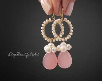 Pink Chalcedony Earrings Gemstone Earrings White Pearl Earrings Pearl hoop earrings Pink Earrings Pearl Earrings Dainty Earrings