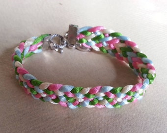 colorful braided bracelet with charm pendant