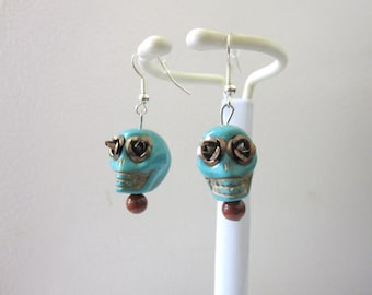 Day of The Dead Earrings Sugar Skull Jewelry Turquoise Blue