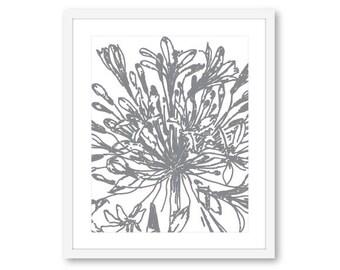 Flower Wall Art, Modern Flower Print, Flower Artwork, Floral Print, 8x10 on 8.5x11, Frame not included, Custom Color
