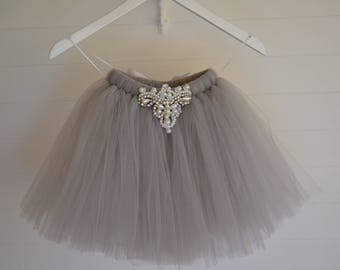 Girls tutu, grey tutu, Flower Girl tutu, tutu skirt, ballet tutu, long tutu skirt, baby tutu, tulle skirt, tulle tutu, flower girl dress