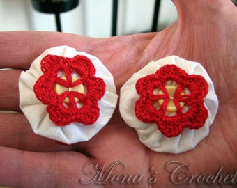 Hand Crocheted Red Button Flower And White Fabric YoYo Hair Barrette | Crochet Hair Clip | Crochet Hair Barrette - Set of 2