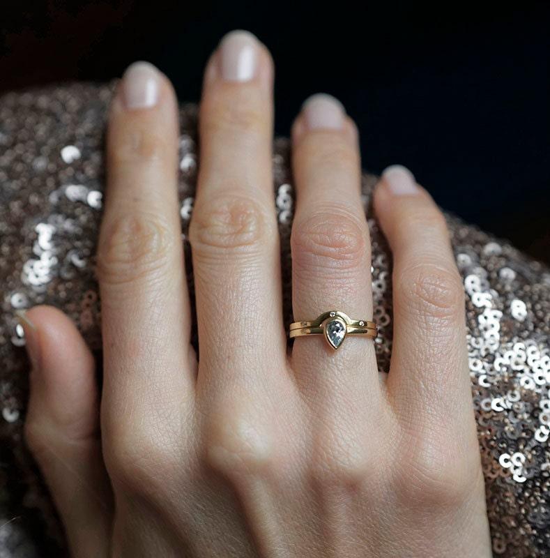 Pear Diamond Wedding Set Eternity Ring Stacking Gold