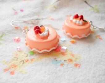Pink Cake Earrings, Kawaii Cake Earrings, Kawaii Earrings, Sweet Lolita, Cute Earrings, Food Earrings, Food Jewelry, Dessert