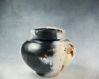 Black and cream Ceramic Cremation Urn,Pet Urn or Keepsake Urn  Barrel-fired alternative raku