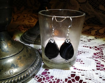 Sardonyx and Sterling Silver Filigree Earrings - Dark romantic, victorian, edwardian, classic, one-of-a-kind, handmade jewelry
