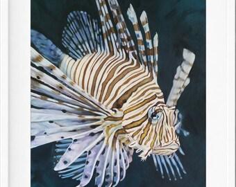 Lionfish Art Print,  fish painting, lionfish painting, fish art, wall art print, underwater art, beach lover,  beach house art