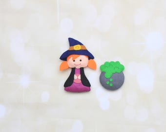 Felt Halloween ornament Cute Witch ornament Halloween decoration Stuffed Witch plush Halloween tree decor Kitchen Witch Halloween toy