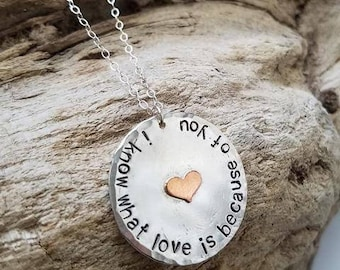 I know what love is Necklace.  Circle charm necklace with charm.  Inspirational jewelry.  Mother's day gift idea.