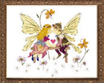 """Children's Fairy Art - Fantasy Faery Design """"Childhood Sweethearts"""" made with REAL Flowers"""