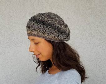 PDF Swirl Slouchy Beanie Hat Crochet Pattern Lace Lacy Rustic Charm for a Cozy Fall Winter Wardrobe INSTANT DELIVERY