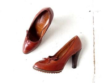 Vintage 1970s Heels   Leather Pumps   70s High Heels   Size 6 1/2