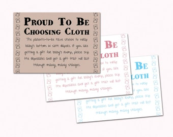 Baby Shower Invitation Insert - Proud to be Choosing Cloth - Cloth Diaper Request