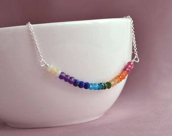 7 chakra necklace, meditation necklace, healing jewelry, sterling silver, rainbow gemstone necklace