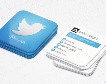 Twitter Business Cards - Social Media - Square Die-Cut Cards - Design and Printing - 250, 500, 1000, 2500 | FREE Shipping |
