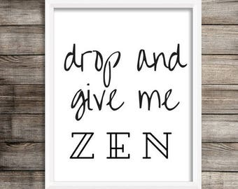 Zen Art// yoga art, yoga artwork, art print, yoga decor, gift for her, yogi gift, meditation art, minimalist art, yoga studio decor