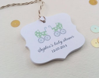 Twins baby gift tags - Customized baby favor tags - Shower thank you tags - Baby carriage gift tags - Thank you favor tags - Set of 12 TB09