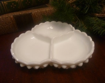 Fenton Milk Glass Hobnail 3 Section Divided Relish Dish