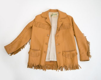 Rare Vintage 1960's Deerskin Fringe Frontier Jacket // Mid Western Sport Togs - Size 16 // Country, Hipster, Retro, Wisconsin