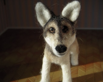 Custom - Wolf - needle felted origonal art - plushie soft sculpture