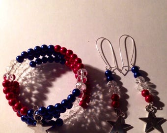 fourth of July  Bracelet , Red, White , Blue Beaded with Sterling Silver ( plated )Star w/matching Earrings Memorial Day