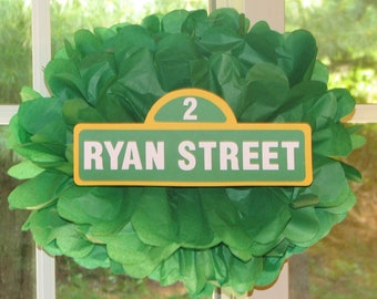 Street sign tissue paper pompom kit, inspired by Sesame Street