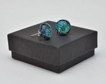 Green crinklized dichroic stud earrings