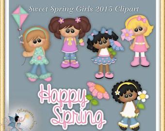 Sweet Spring Girls Clipart