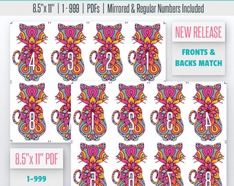 Cat Mandala Live Number Cards(1-999) Normal + Mirrored Numbers Included | Live Sale Numbers, Number Tags, Facebook live numbers
