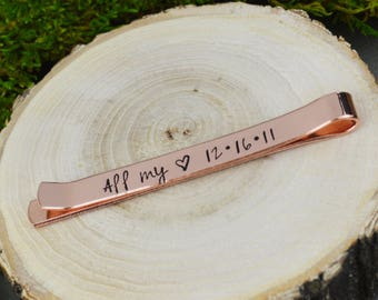 Personalized Secret Message Tie Bar - Hand Stamped Groom Gift - Custom Anniversary Gift