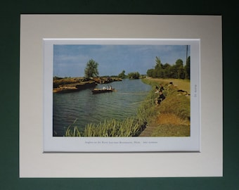 Original 1945 Matted Fishing Print - Colour Photograph - Color Photography - Vintage - Boat - Angling - Angler - Riverside - Riverbank