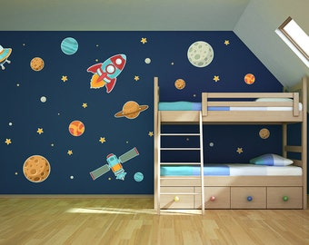 Planets Rocket Stars Set Printed Matte Removable Vinyl Wall Decals | space theme bedroom planets wall decals star decals rocket ship decals