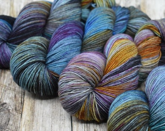 Another Dimension, New Galaxy - Hand Dyed Yarn - Fingering Weight - SW Merino / Nylon - 113 grams - 8 ply