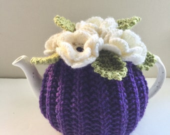 Hand-knitted Floral Tea Cosy in pure wool - Size Small - fits standard 1-2 cup teapots