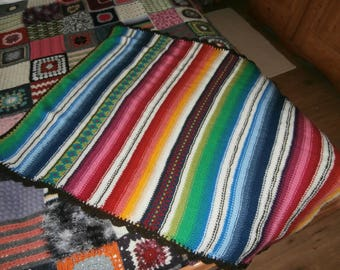 Baby blanket - knitted - rainbow colors