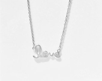 Love Necklace, in 925 Sterling Silver Dainty but Sturdy • Waterproof And at a Lovely Must-Have Price