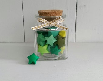 Square Jar of Green Origami Stars
