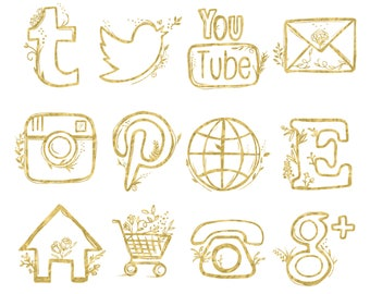 48 hand drawn social media icons social media buttons social icons rose gold social media icons blog buttons blog icons website icons