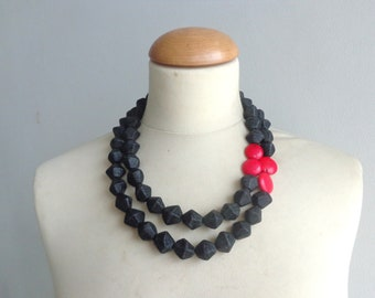 Black red statement necklace
