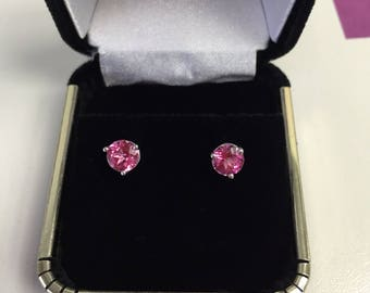 Pink Topaz Studs White Gold 3 Prong Screwbacks