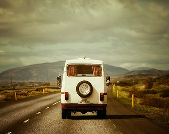 Wanderlust Print, Iceland Travel Photography Print, Travel Print, Retro Vintage Camper, Mens Gift for Him, Open Road - The Road Trip