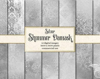 Silver Shimmer Damask digital paper, rustic vintage texture scrapbook paper, distressed gray silver foil wedding paper instant download