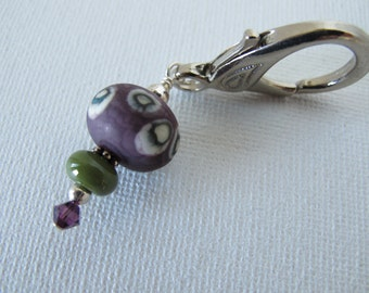 Plum and Olive Sewing Scissor Fob