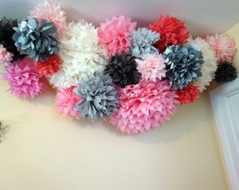 Custom Shades of Gray & Pink Nursery Decor Ceiling Hanging Mobile Tissue Paper Flower Pom CONNECTING PuffScape Puffs